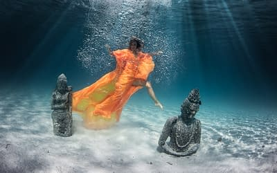 Underwater Photography in Bora Bora Wearing Blissful & Sustainable Dresses by French Designer Valerie Pache